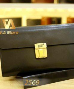Clutch cao cấp nắp gập khóa vàng MontBlanc 2569D