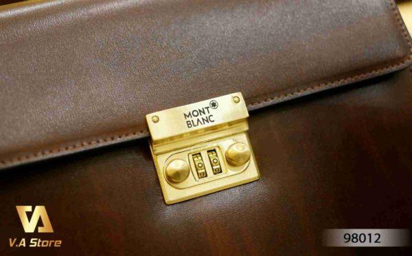 Ví cầm tay clutch Nam nắp khóa Montblanc 98012 Đen - Nâu