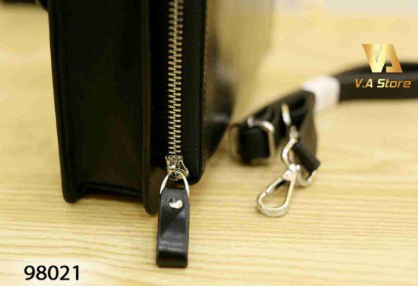 Ví Clutch cầm tay nắp khóa Montblanc 98021 Nâu - Đen - Nâu Sáng