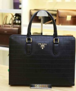 Cặp da Công sở hàng hiệu Prada 56091O Đen Da Ô Vuông