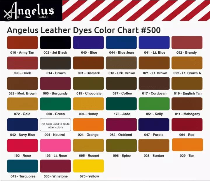 Bảng màu thuốc nhuộm lên da Angelus Leather Dye